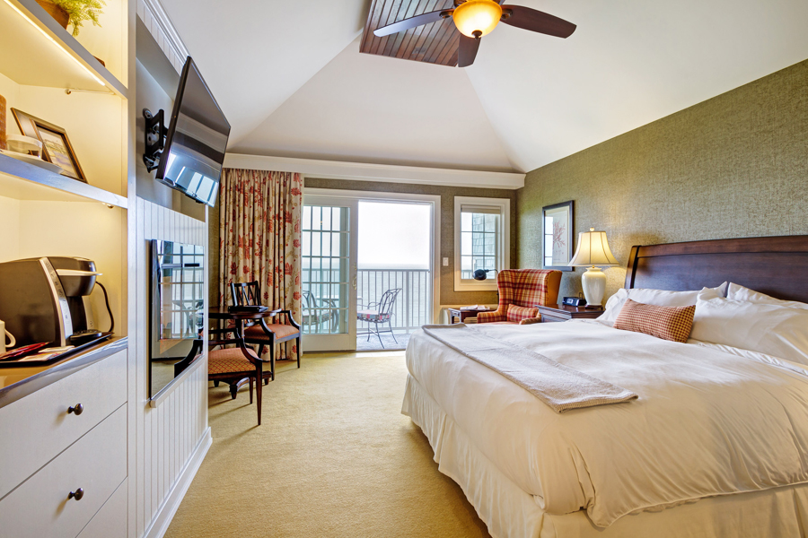Oceanfront Hotel Room with Vaulted Ceiling in York Harbor, Maine