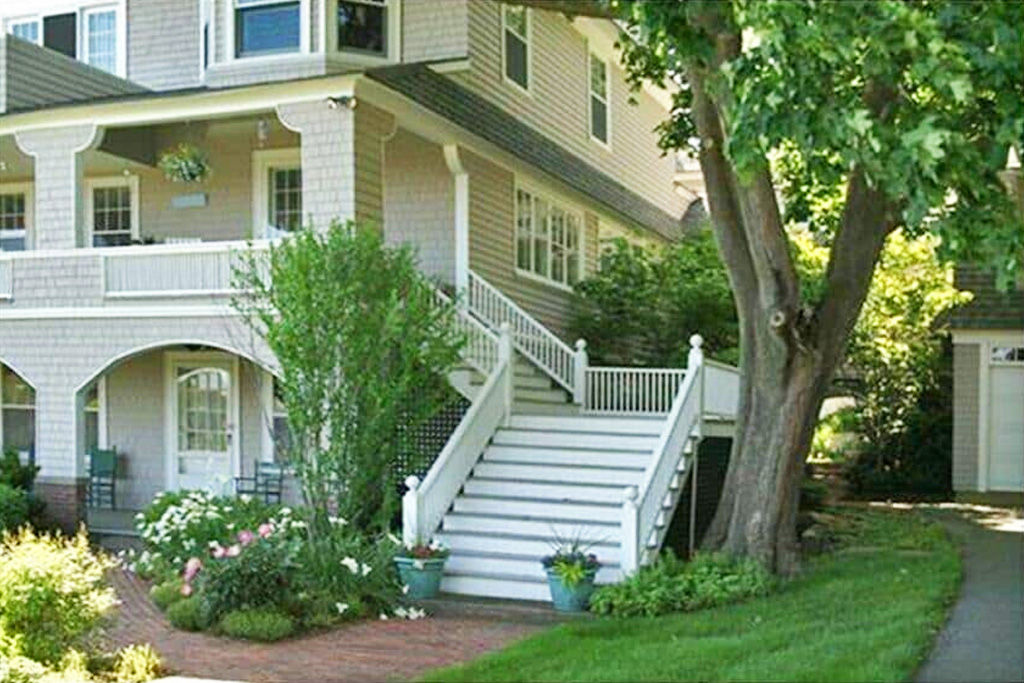 Front Stairs of Grand Seaside Cottage Rental in York Harbor Maine